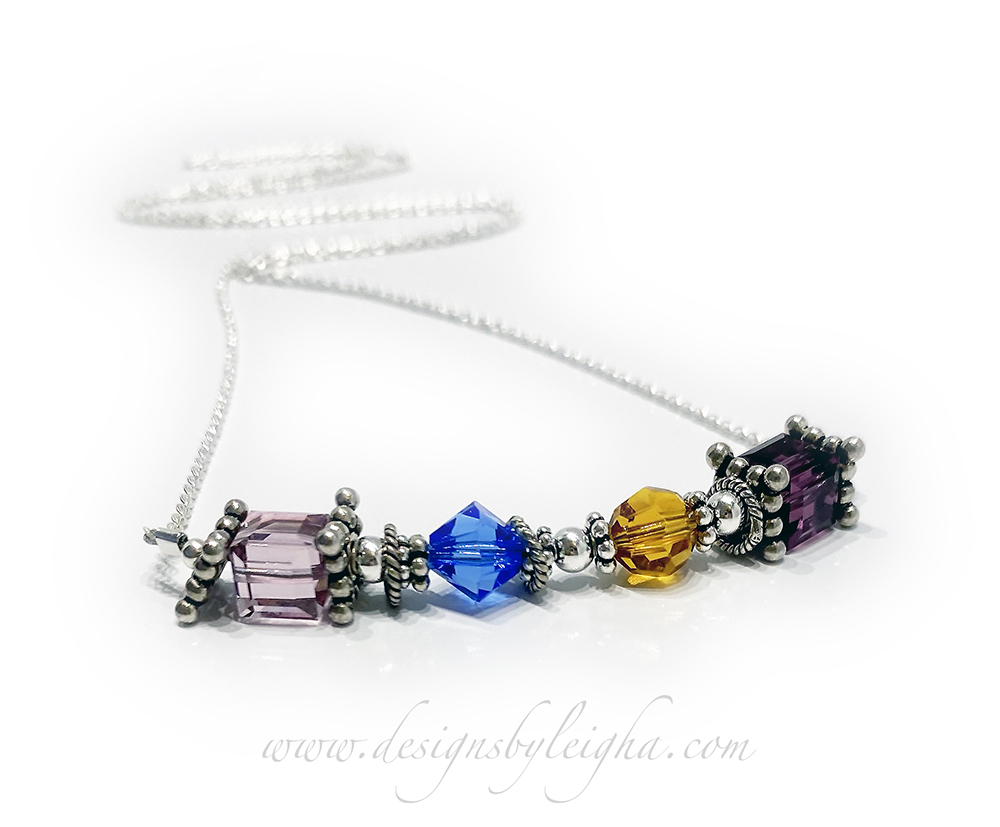 Generations Birthstone Necklace CC-N7-1 string  1 String + 4 Birth Months June/Alexandrite, September/Sapphire, November/Golden Topaz, February/Amethyst Birthstones