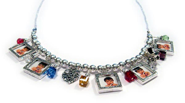 Charm Necklace with 14 picture frames and charms