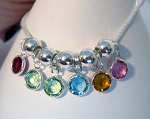 Birthstone Necklaces Drops with 6 birthstones and spacers
