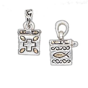 Sterling Silver and GOld Plated Square Prayer Box Pendant (sold individually)